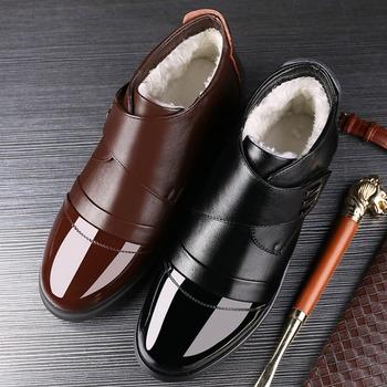 Nowe buty zimowe mężczyźni Chelsea Boots oryginalne skórzane ciepłe buty męskie botki moda marka krowa skórzane obuwie męskie tanie i dobre opinie dylan sky Podstawowe CN (pochodzenie) Prawdziwej skóry Skóra bydlęca ANKLE Stałe Pluszowe Krótki pluszowe Okrągły nosek