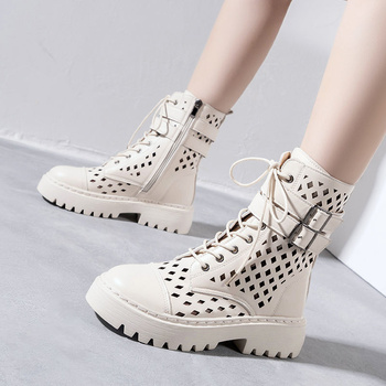 Buty damskie Martin buty letnie damskie 2021 nowe podeszwie buty krótkie Zapatillas Mujer Chaussure Femme tanie i dobre opinie yunyiwa Klinowe buty na deszczową pogodę CN (pochodzenie) Zima Do kolan LEISURE Platforma Stałe casual Adult okrągły nosek