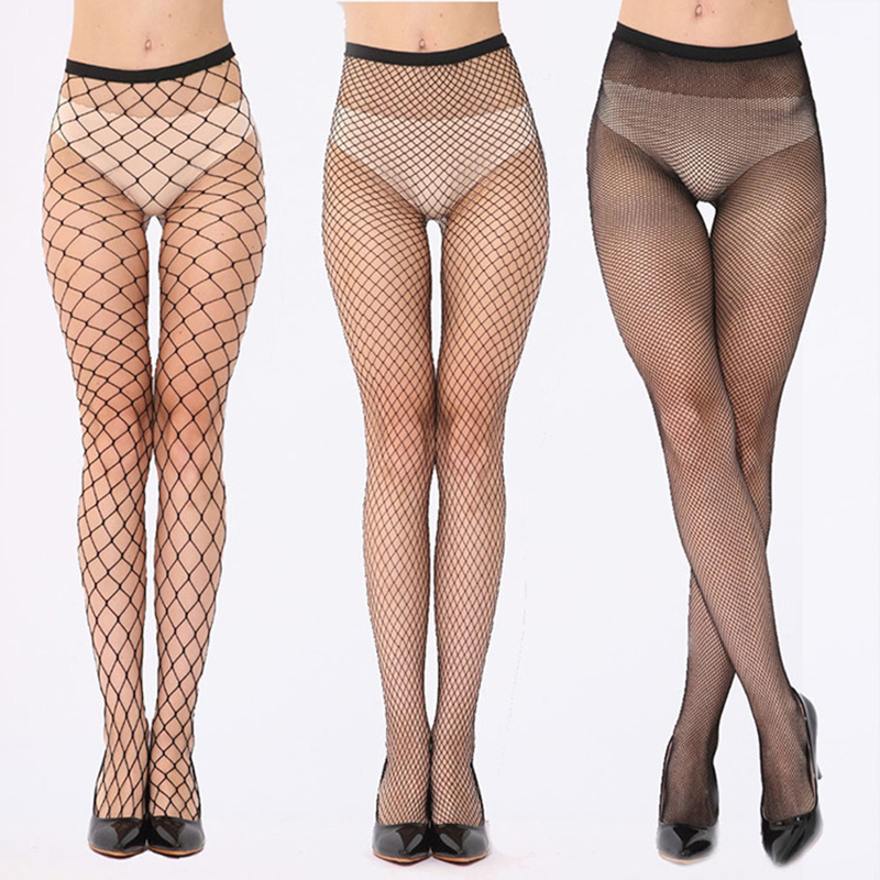 2019 New Sexy Stockings Women Thigh High Sexy Lingerie Sheer Lace Net Fishnet Stocking Black Fishnet Stocking Hollow Out Hosiery