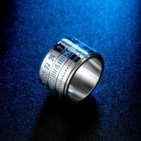 Anillo de Hora Digital árabe estilo Hip Hop, accesorio giratorio azul que brilla en la oscuridad, chapado en acero y titanio, reloj de oro de 18 quilates Tim