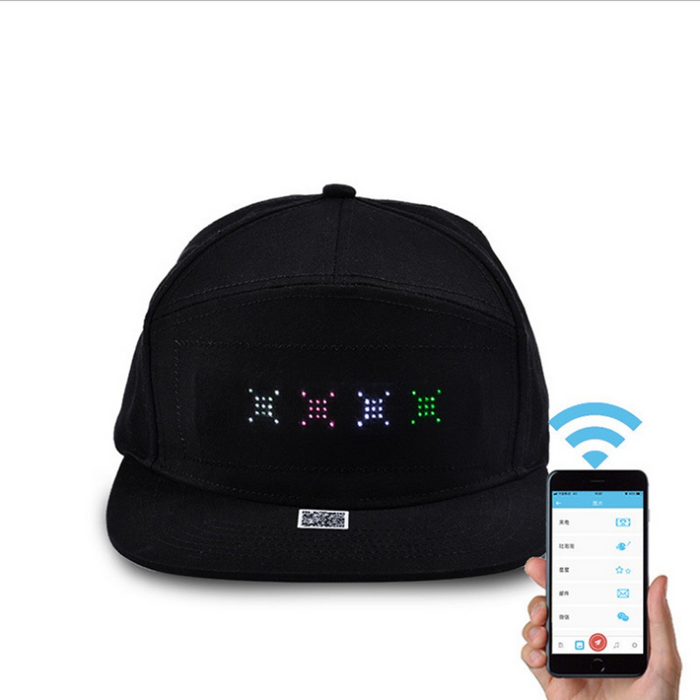 Animated Bluetooth LED Advertising Glowing Hats Stage Personality Nightclub Bar Hip Hop Street Dance Party Hat APP Editable Text image