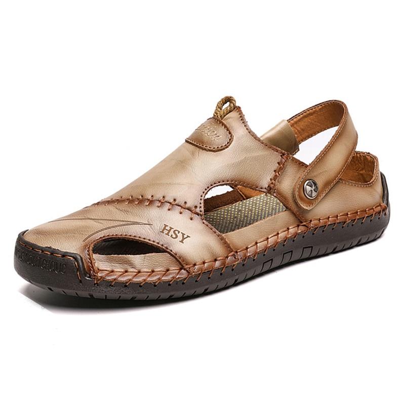 Hot Classic Summer Men's Sandals Genuine Leather Soft Breathable Shoes Beach Roman Sandals Men Sandals Sandals Slippers Bohemia 4