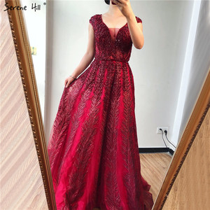 Image 2 - Pink V Neck Evening Dresses Long 2020 Lace Beading Crystal Sleeveless A Line Evening Gowns Serene Hill LA70225
