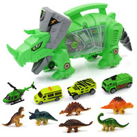 Simulation Mini Dinosaur Toy Car Model Portable Storage Carrier For Kids Children Engineering Vehicle Toys Home Decor Gift