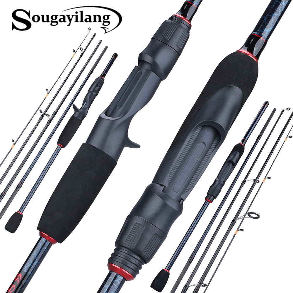 Sougayilang 1.8-2.4m 5 Section Spinning Casting Fishing Rod  Ultralight Carbon Fiber Travel Portable Fishing Rod Fishing Tackle