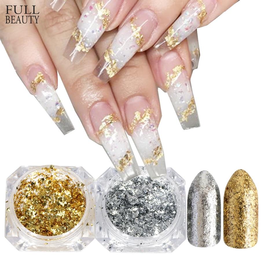 1pc Mirror Nail Sequins Paillette Gold Silver Aluminum Irregular Flake Chrome Pigment Nail Art Decoration Glitter Foil CHCB01-02