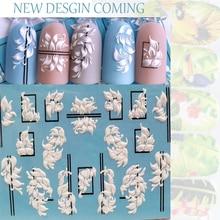 3D новые акриловые наклейки для ногтей с гравировкой, черные линии, белый розовый цветок, Водные Наклейки, эмалированные наклейки для ногтей, водные слайды Z0209