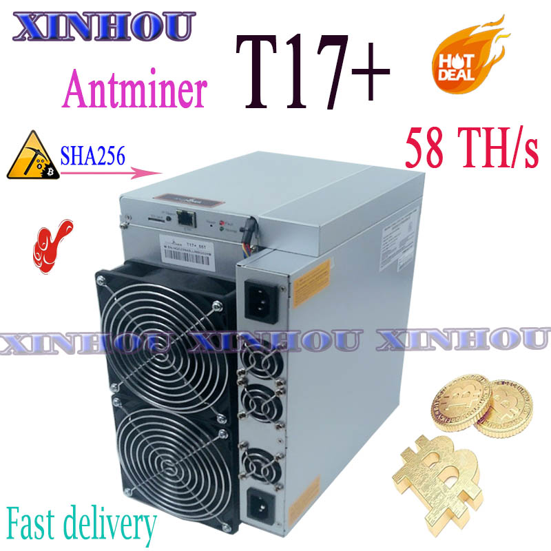 Antminer T17+ 58T Asic Sha256 Miner Bitcon BTC Miner Better Than S9 T17 S17 S19 K5 Innosilicon T2T T3 Whatsminer M20S M21S M30S