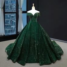 מדהים נצנצים שמלת ערב ארוך כבוי כתף אמרלד ירוק נשים פורמליות תחרות לנשף שמלות