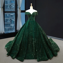 Gorgeous Sequin Evening Dress Long Off The Shoulder Emerald Green Women Formal Pageant Prom Gowns