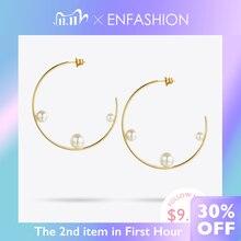 Enfashion jóias geométrica pérola linha hoop brincos cor do ouro aço inoxidável círculo brincos para mulher eef1014
