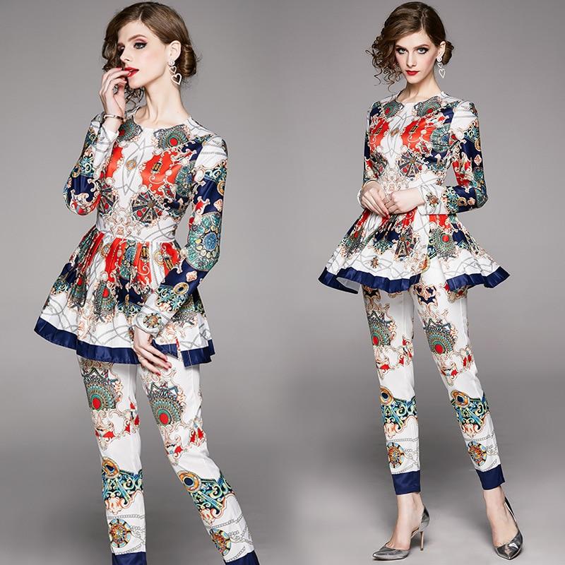 Large Austrian WOMEN'S Dress New Style Europe And America WOMEN'S Dress Long Sleeve Medium-length Fold Tops With Skinny Pants Pr