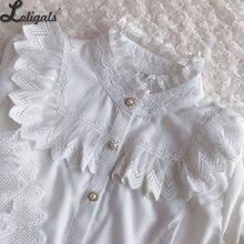 Женская белая блузка в стиле ретро винтажная викторианская рубашка с рукавами-колокольчиками в стиле Лолиты от Yiliya