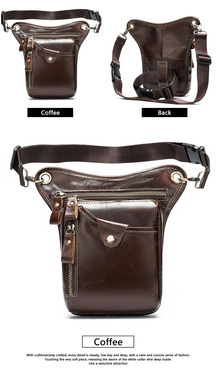 Image 5 - WESTAL mens belt bag leather leg bag male fanny pack waist bags men tactical phone pack fashion leather motorcycle bags for menWaist Packs   -
