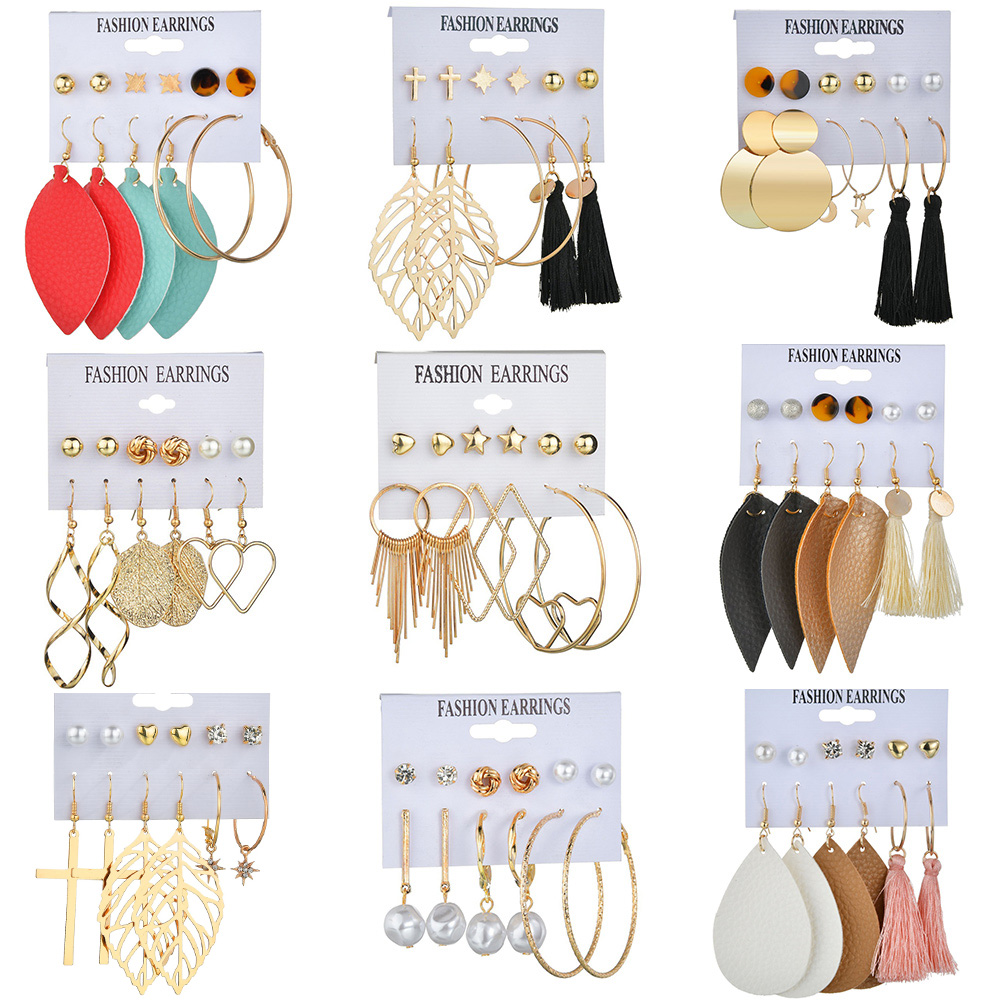 Korean Statement Leather Drop Earrings for Women Bohemia Tassel Earrings Set Pearl Metal Earrings 2020 Fashion Brincos Jewellery title=