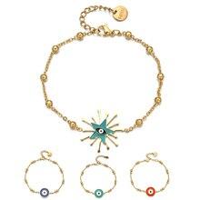 ZMZY Fashion Boho Gold color Chain Stainless Steel Bracelets Evil Eye Enamel Charm Beads Bracelet Jewelry For Women Men Gifts