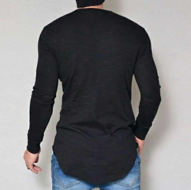 Plus Size S-4XL 5XL Fashion Casual Slim Elastic Soft Solid Long Sleeve Men