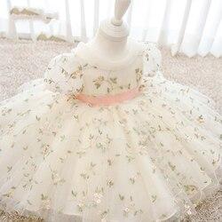 С бантом для младенцев 1st на день рождения; Платье для малышей; Костюмы с цветочной вышивкой Вечернее платье принцессы на свадьбу для малыше...