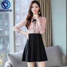 Платье мини женское кружевное с длинным рукавом батальных размеров