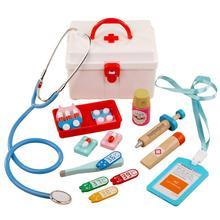 13Pcs/Set Wooden Pretend Play Doctor Medical Kit Tools Educa