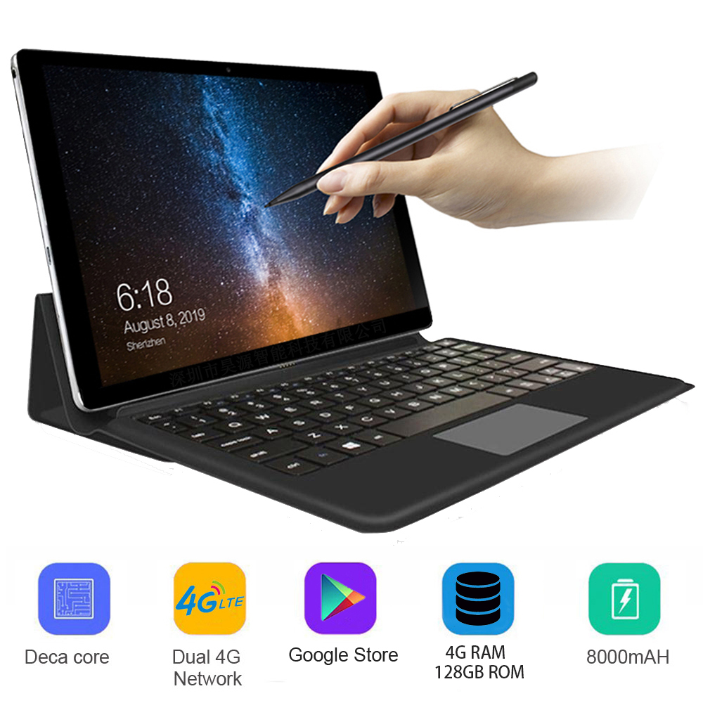 2020 Upgraded K20 Pro Fully Connected 2 In 1 Tablet Laptop With Keyboard 128GB ROM Phone Tablet Android 4G LTE MTK6797 10 Cores