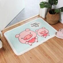 Ev dekor hayvan paspas tüylü lateks alt makine yıkama banyo mutfak halı halı karikatür domuzlar kapalı giriş kat Mat