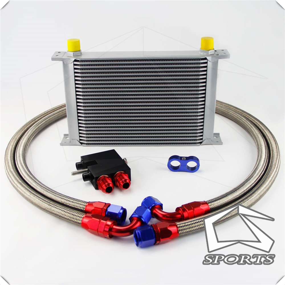 25 Row 248mm AN10 British Oil Cooler Kit Fits For <font><b>BMW</b></font> N54 Engine Twin Turbo <font><b>135i</b></font> <font><b>E82</b></font> 335i E90 E92 E93 Black/Silver image