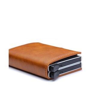 Image 5 - למעלה איכות Rfid גברים ארנק כסף תיק מיני ארנק זכר אלומיניום כרטיס ארנק קטן מצמד עור ארנק דק ארנק carteras 2020