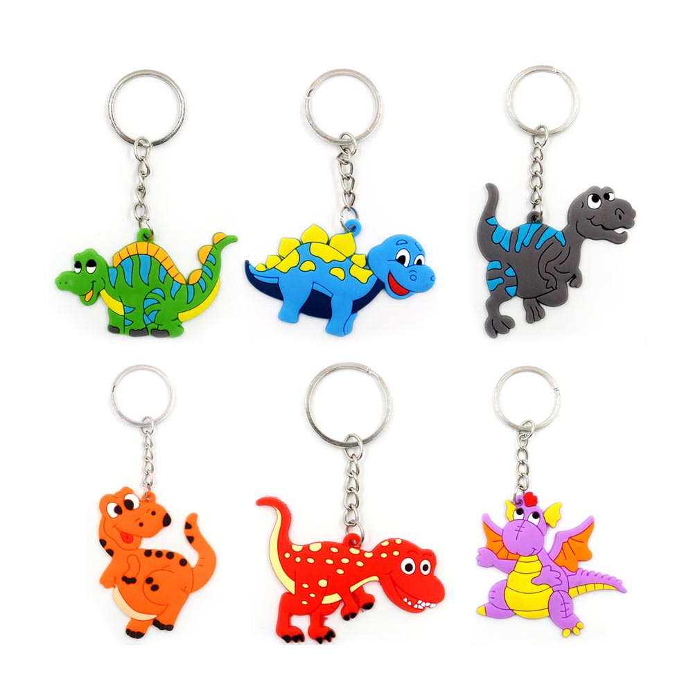 2019 6Pcs Boys Dinosaur Keychain Set Kids Soft PVC Keyring Charm Men Key Chain Auto Pendant Plastic Ring Gifts Oc29