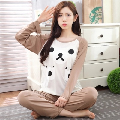 2017 Spring And Autumn WOMEN'S Pajamas Long Sleeve Cartoon Brown Bear GIRL'S Students Cute Home Wear