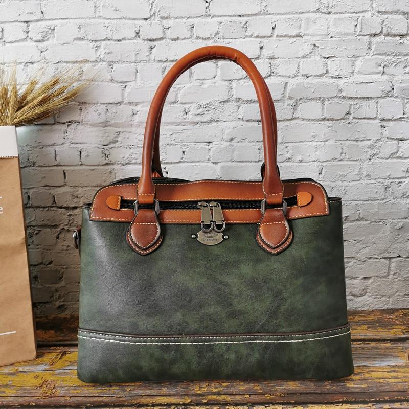 IMYOK Vintage Bags Women Handbag Genuine Leather Female Shoulder Bag Multi Functional Handbags Luxury Tote Bags Ldies Mochila