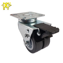Caster 2-inch Pvc Two Wheel Moving With Brake Silent Durable Tool Cart Trolley Universal hot 4 inch caster wheel manufacturer 100mm medium duty nylon caster brake