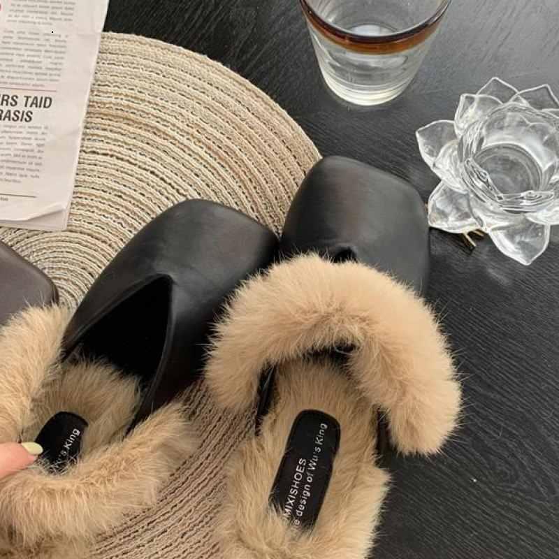 С закрытым носком обувь без каблука Женские тапочки 2019 на высоком каблуке Шлёпанцы Покемон плюшевые Роскошные шлепанцы без задника с открытыми пальцами мягкие туфли на плоской подошве с натуральным мехом новая детская дизайнерская хлопковая одежда