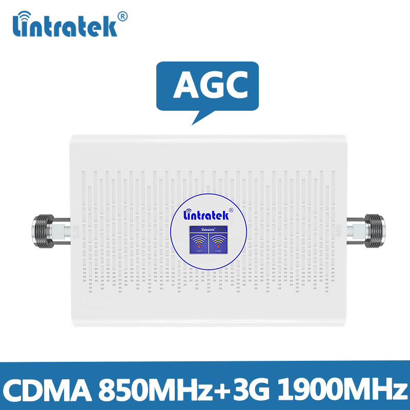 Lintretek Repeater CDMA 850MHz 2G 3G Signal Booster 1900MHz Dual Band AGC Amplifier 70dB Cellphone Signal Repeater Band 5/Band 2