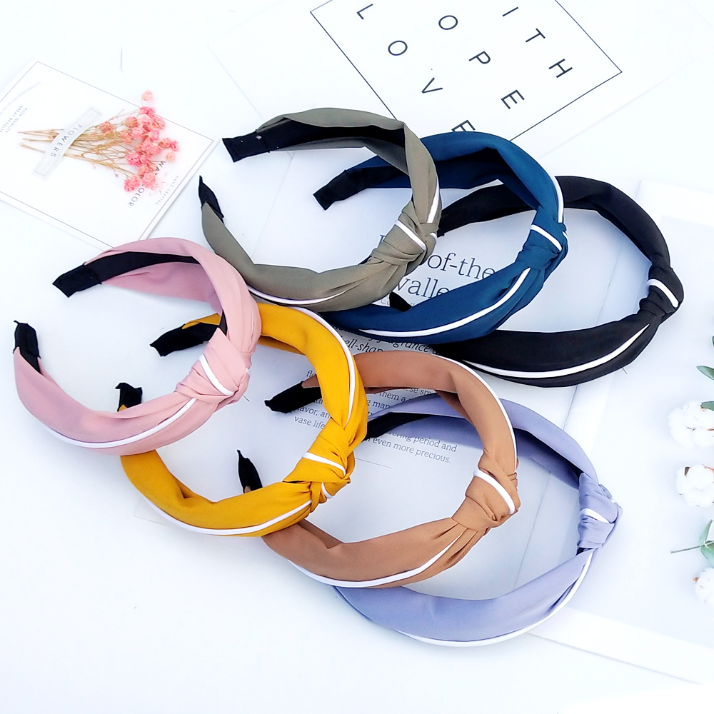 Fashion Solid Color Hair Bands For Women Cross Knot Bow White Side Headband Girl Sport Face Wash Hair Accessories FG078