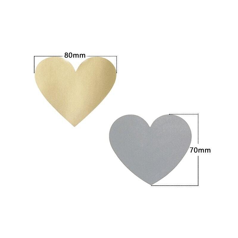 Купить с кэшбэком 50pcs/lot Red Golden Silver Heart Scraping Sticker Multifunction Surprise DIY Gift Handmade Product Sticker Decoration Label
