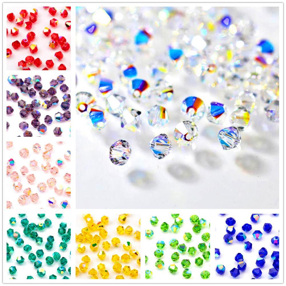 100 pçs/lote 4mm charme contas de cristal bicone multicolorido vidro solto contas para diy jóias fazendo brincos pulseira