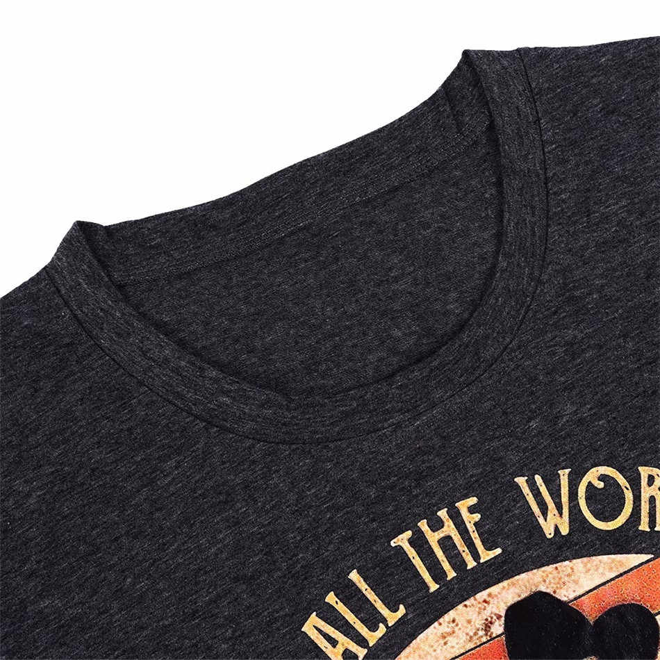 Lettre imprimé T-shirt femmes 2019 été nouveaux hauts T-shirt décontracté o-cou noir T-shirt femme à manches courtes hauts dame T-shirt