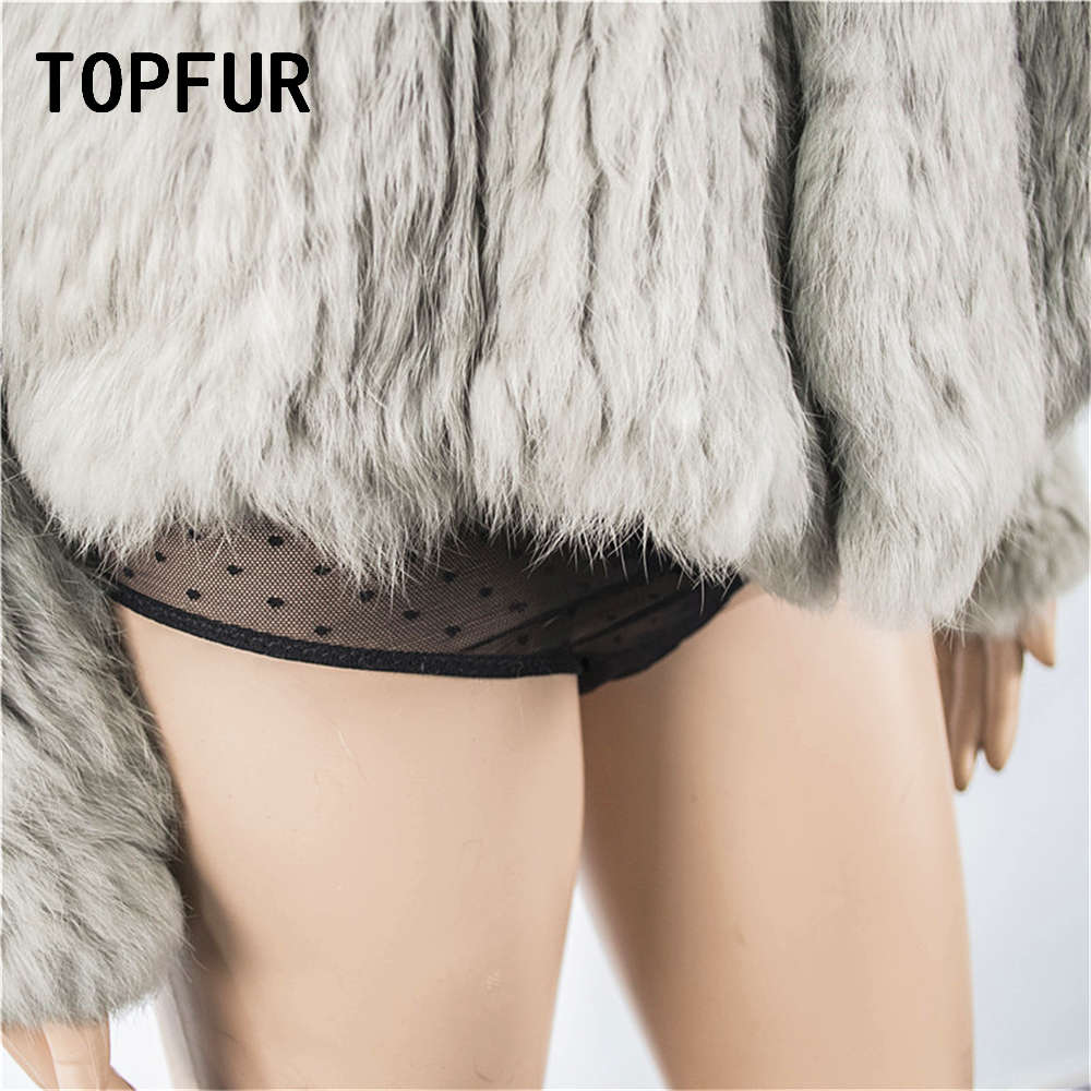 TOPFUR Winter Gray Cardigans Women Hand Knitted Jacket Natural Rabbit Fur Coat Women Full Sleeves Sweater Loose Knitted Sweater - 3