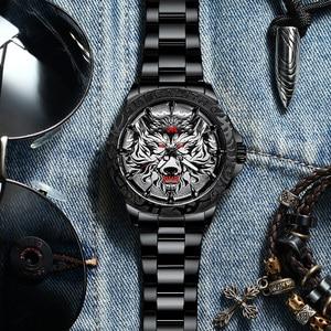 Image 5 - 2020 새로운 시계 남자 MEGALITH 늑대 머리 양각 석영 시계 남자 스포츠 방수 스테인레스 스틸 손목 시계 Relogio Masculino