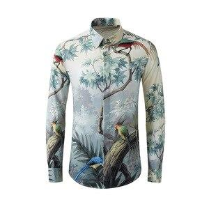 Camisas de hombre algodón 2020 manga larga estampado árbol pájaro famosa personalidad flores camisa coreana alta calidad talla M-XXL XXXL 4XL