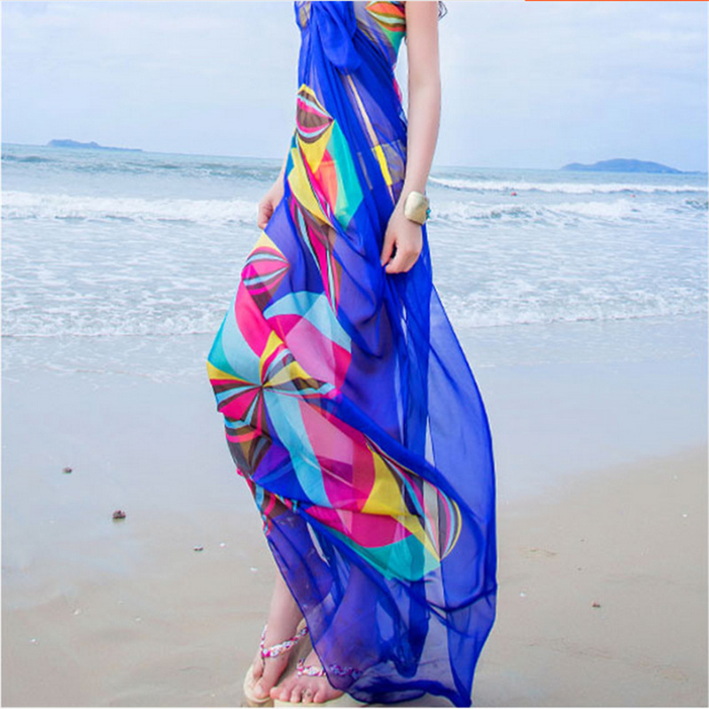 2020 Women Bikini Beach Wear Hot Summer Beach Sarongs Chiffon Scarves Geometrical Design Swimsuit Cover Up Dress Kaftan Sarong