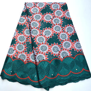 Image 1 - Latest Swiss Lace Fabric 2019 Green Swiss Voile Lace In Switzerland High Quality African Dry Cotton Voile Lace Fabric QG908