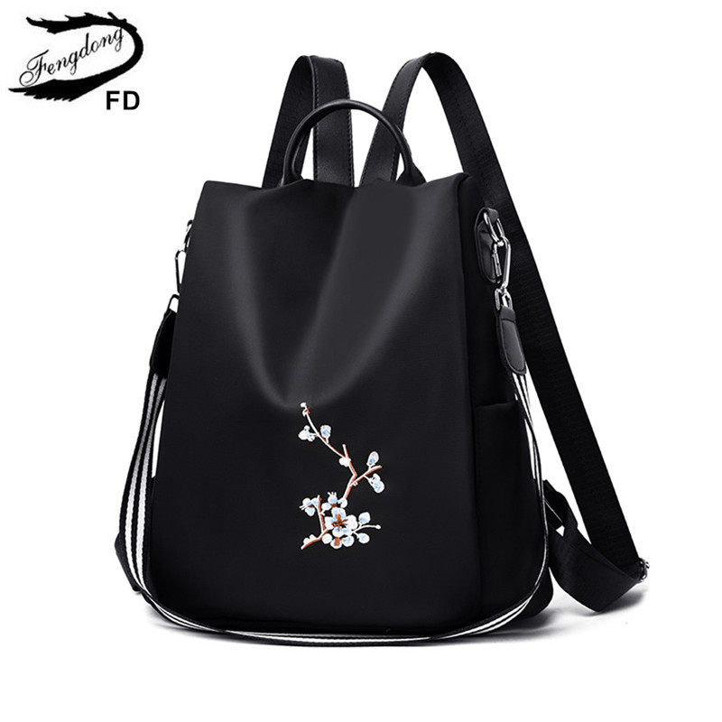 FengDong Women Black Flower Vintage Backpack Anti Theft Small Travel Backpack For Girls Waterproof Oxford Floral School Backpack