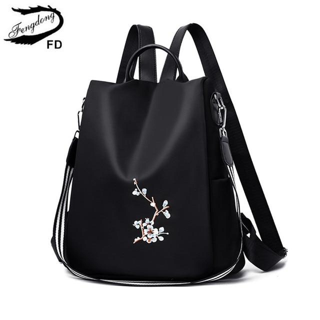 Fengdong women black flower vintage backpack anti theft small travel backpack for girls waterproof oxford floral school backpack