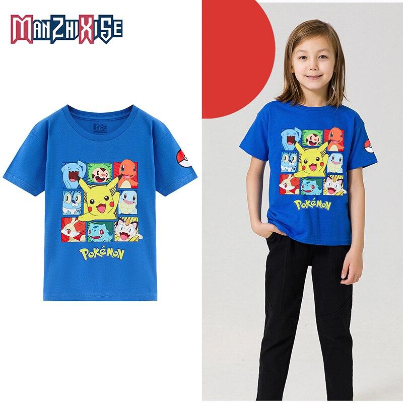 Детские футболки, белая футболка из 100% хлопка с короткими рукавами и забавным покемоном, детская одежда для мальчиков, летняя одежда для мал...