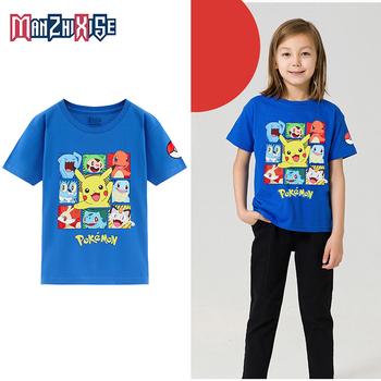 Koszulki dla dzieci białe 100 bawełniane tkaniny z krótkim rękawem śmieszne Pokemon T shirt odzież chłopięca 2019 letnie dziewczynek ubrania tanie i dobre opinie MANZHIXISE COTTON CN (pochodzenie) Na co dzień W stylu rysunkowym REGULAR Z okrągłym kołnierzykiem tops Z KRÓTKIM RĘKAWEM