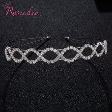 Простые хрустальные свадебные короны со стразами диадемы свадебные короны для невесты украшения для волос аксессуары RE3599