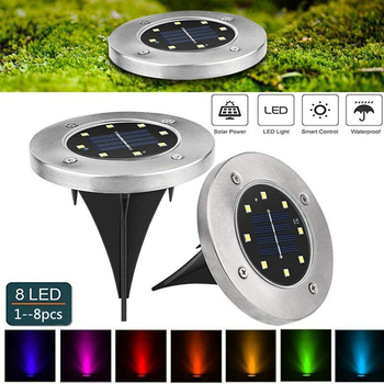 Solar Lawn Lights Garden Lights 8/12led Warm White/Color-changing Ground Lamp Solar Pathway Lights Outdoor Patio Home Decoration
