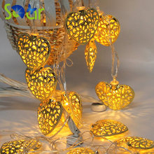 Gold Silver Metal Heart Shape Battery Operated 10 LED Fairy Lights String for Wedding Party Christmas Holiday Decoration(China)
